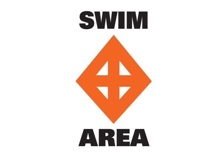 Which symbol on a regulatory marker is used to mark a swimming area